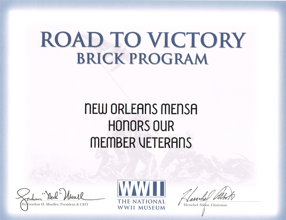 New Orleans Mensa Honors Our Member Veterans